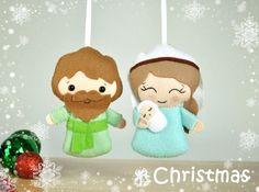 Adornos navideños fieltro conjunto Natividad de dos por MyMagicFelt