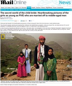 Yahweh, Jesus & Allah never objected to pedophilia.  Did they?  The secret world of the child bride: Heartbreaking pictures of the girls as young as FIVE who are married off to middle-aged men.