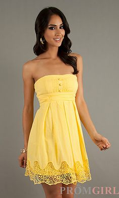 Yellow is perfect for the summer and the peek-a-boo lace adds a fun, flirty touch! Find this dress at PromGirl.com!