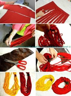 Super easy Scarves from old T-shirts…cut, stretch…anchor to top (can add embellishment at anchor point)…instant cute scarf! Super easy Scarves from old T-shirts…cut, stretch…anchor to top (can add embellishment at… Fabric Crafts, Sewing Crafts, Sewing Projects, Craft Projects, Do It Yourself Mode, Crafts To Do, Diy Crafts, Diy Vetement, Scarf Shirt