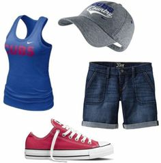Change Cubs for Braves and we're good.    Outfits Under $100: What to wear to a baseball game - Shorts, tank, baseball hat, converse