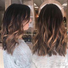 Dark black brown root balayage hand painted natural highlights warm dark blonde waves curls textured hair done by IG : hairbynickyz