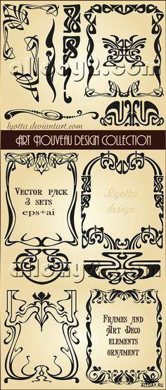 New Art Nouveau Border Design Ideas Ideas Motifs Art Nouveau, Art Nouveau Mucha, Design Art Nouveau, Motif Art Deco, Art Nouveau Pattern, Graphisches Design, Border Design, Design Ideas, Vector Design
