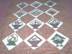 Basket Pattern With Handmade YoYos Quilt top by bitspeaces on Etsy, $225.00