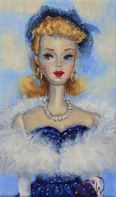 Parisienne Barbie (the original and most beautiful!) by Esther J. Williams Oil ~ 5 x 3