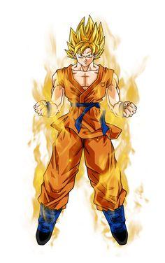 Goku super saiyan aura by BardockSonic on DeviantArt Super Saiyan Goku, Super Saiyan Blue Kaioken, Super Goku, Goku Y Vegeta, Goku Drawing, Ball Drawing, Dragon Ball Z Shirt, Dragon Ball Gt, Arte Bruce Lee