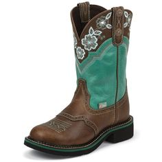 Justin Boots Women's Tan Jaguar Justin Gypsy™ Boots ($118) ❤ liked on Polyvore featuring shoes, boots, tall cowgirl boots, tall western boots, floral cowboy boots, embroidered cowgirl boots and cowboy boots