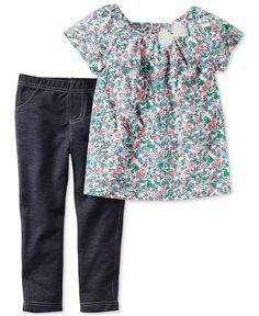 Carter's Baby Girls' 2-Pc. Floral-Print Bow Top & Denim Leggings Set