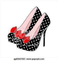 Illustration of retro style shoes with polka dots in black and white and red bow. Retro Fashion, Fashion Art, Fashion Shoes, New Shoes, Shoes Heels, Pumps, Bow Heels, Drawing High Heels, Shoes Clipart