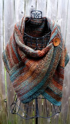 Crocheted wrap in colors of Arizona with brown by redbootyarnworks