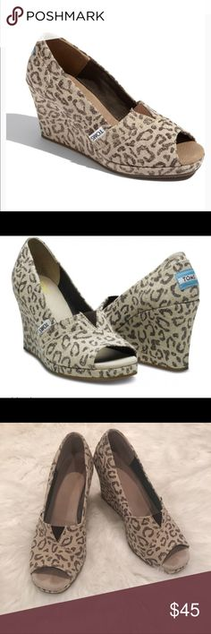 TOMS Leopard Wedges Pre Loved TOMS Leopard Wedges Size 6.5 Toms Shoes Wedges