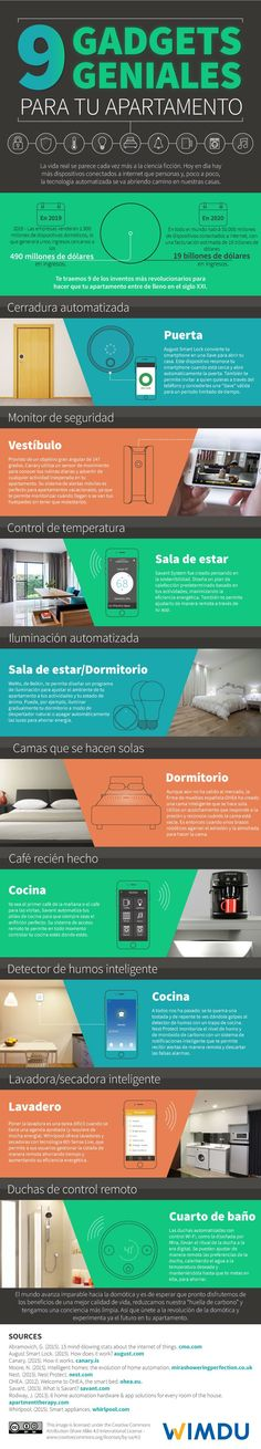 Our homes are going to become a whole lot smarter in the future. There are already plenty of gadgets that can turn your home smarter. This infographic from WIMDU covers 9 cool gadgets for apartments:Get your infographic featured: submit ➡️ here Lighting Automation, Home Automation, Dig Gardens, Back Gardens, Cool Gadgets, Amazing Gadgets, Tech Gadgets, Smart Home Ideas, Arquitetura
