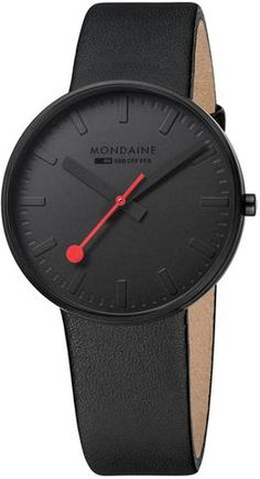 Mondaine Man Watch - Collection Giant - Color All Black - Ref - Diameter - Mondaine Watches Official Stockist - 2 Years Warranty - Free Delivery Modern Watches, Cool Watches, Watches For Men, Black Watches, Wrist Watches, Men's Watches, Swiss Design, Latest Watches, Swiss Made Watches
