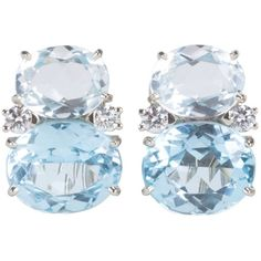 Preowned Medium Gum Drop™ Earrings With Rock Crystal And Pale Blue... ($4,000) ❤ liked on Polyvore featuring jewelry, earrings, blue, drop earrings, clip on earrings, diamond clip on earrings, blue earrings and diamond jewelry