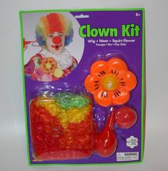 Rubies Clown Kit costume rainbow wig nose squirt flower circus party parade TV #Rubies