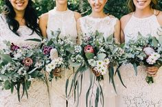 bridesmaids in white with DIY native bouquets