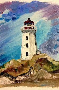 25 Simple And Easy Lighthouse Painting Ideas For Beginners - Beginner Painting On Canvas, Simple Oil Painting, Watercolor Paintings For Beginners, Oil Painting For Beginners, Simple Acrylic Paintings, Watercolor Art, Artist Painting, Painting & Drawing, Painting Tips