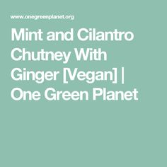 Mint and Cilantro Chutney With Ginger [Vegan] | One Green Planet