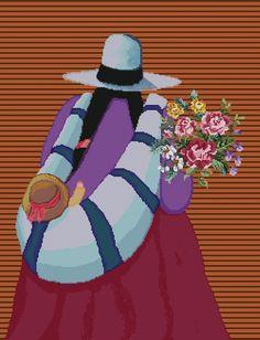"PATRON PUNTO CRUZ   (Foto del Bordado Virtual)   ""Madre con Flores ""   Para bordar con Hilos DMC   250 Puntos de Ancho   320 Puntos de Alto. Indian Drawing, South American Art, Peruvian Art, Bordados E Cia, Native American Paintings, Art Africain, Silk Art, Southwest Art, Painting People"