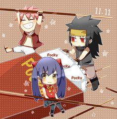 Fairy Tail's dragon slayers: Natsu, Gajeel and Wendy and POCKY! Fairy Tail Tumblr, Fairy Tail Love, Fairy Tail Ships, Fairy Tail Gruvia, Fairy Tail Manga, Anime Fairy, Fairy Tail Dragon Slayer, Fairy Tail Characters, Chibi Girl
