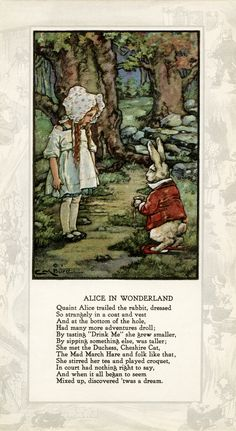 Alice in Wonderland printable, vintage storybook illustration, alice and the rabbit, vintage fairy tale graphics, alice in wonderland poem, alice in the forest
