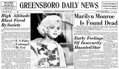 "An article about the death of Marilyn Monroe, published in the Greensboro Daily News newspaper (Greensboro, North Carolina), 6 August 1962. Read more on the GenealogyBank blog: ""On This Day in History: Marilyn Monroe Found Dead."" https://blog.genealogybank.com/on-this-day-in-history-marilyn-monroe-found-dead.html"