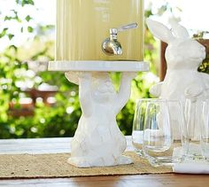 Sculpted Bunny Drink Dispenser Stand #potterybarn. Why don't they make these things for more than one year? Update: Pier 1 has a bunny cake stand this year that is adorable with matching bowl.