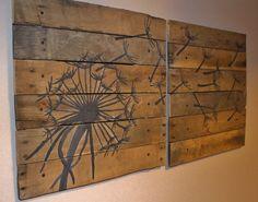 Dandelion,Pallet Art,21x21, 2 piece,Blowing Dandelion,dandelion Art,Dandelion Painting,rustic wall art,wood planks,reclaimed wood,flower art