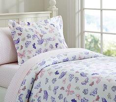 Butterfly Flannel Duvet Cover #pbkids