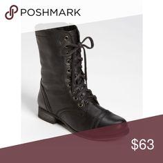 Black combat boots Women's Shoes Steve Madden Troopa Leather Lace Up Combat Boots Black Shoes Combat & Moto Boots