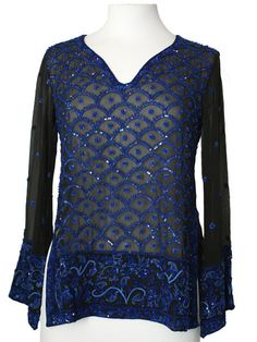 Black Silk Kurti Top with Blue