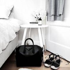 ✧ home: ✧ Bedside Stool, Scandinavian Interior Bedroom, Monochrome Bedroom, House Front Design, Interior Decorating, Interior Design, Decoration, Home And Living, Room Inspiration