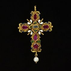 Pendant cross of enamelled gold, set with a table-cut diamond and rubies, hung with a pearl, probably England, 1610-20.