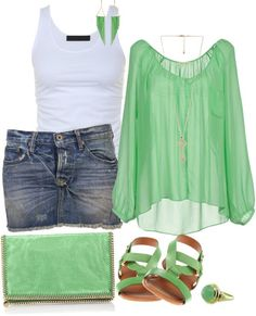 I really love the green vintage shirt and the earrings! Love the color too!