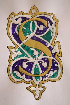 Illuminated Letter S. Reminds me of studying calligraphy & going to see the illustrated manuscripts at the British Museum in London. Alphabet Art, Letter Art, Capital Alphabet, Illuminated Letters, Illuminated Manuscript, Illumination Art, Fancy Letters, Calligraphy Letters, Lettering Design