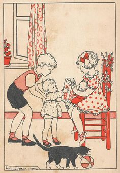 Illustration by Nans van Leeuwen, from a vintage Dutch children's book (1940's)