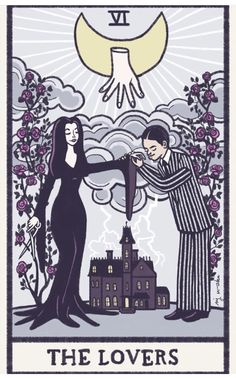 The Lovers Tarot Card, Gomez And Morticia, Adams Family, Tarot Card Meanings, Couple Wallpaper, Oracle Cards, Dark Art, Illustration Art, Drawings