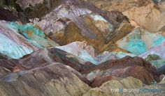 The multi-colored sediment of iron salt, manganese, and mica create Artist's Palette along the Black Mountains in Death Valley National Park near Furnace Creek, California.