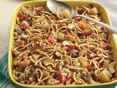Chow Mein casserole- I made this tonight in my Pampered Chef Deep covered baker in the microwave- and used Minute rice.  It only had to bake for 20 minutes rather than an hour! :) And my husband LOVES it!  Although we do the cashews and chow mein noodles on our plates so they don't get soggy.- This is one of our FAVS!