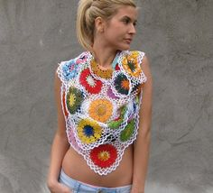 Colorful Flower Motif Crochet Shawl Kovale/Shp/Etsy.com