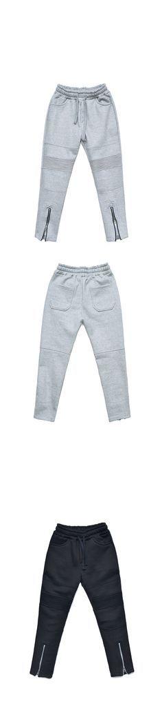 Vertical Zip Seaming Slim Fleece Biker-Sweatpants 321 - GUYLOOK