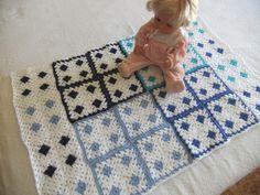 Schmusetücher - Crochet baby blanket, shades of blue,granny square - ein Designerstück von nuresma bei DaWanda