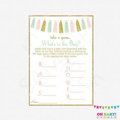 Pink Mint Gold Baby Shower Baby Shower Game What's in
