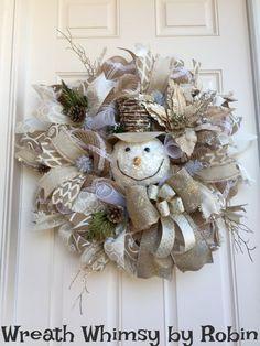 Cream & White Jute Mesh Winter Snowman by WreathWhimsybyRobin