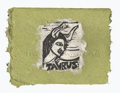 Taurus card, lino print on handmade paper by Jennifer Kunin www.etsy.com/shop/JenniferKuninStudio