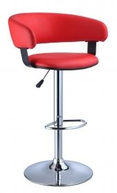"""Powell Furniture 208-915 22"""" Barrel Back Bar Stool in Red and Chrome."""