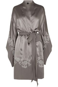 Carine Gilson|Sonia lace-appliquéd silk-satin robe|NET-A-PORTER.COM