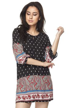 Blossom Paisley Floral Border Printed 3/4 Sleeve Woven Dress Tunic Top