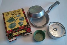 Vintage Girl Scout Aluminum Camping Mess Kit, Cup Pot Pan Box, No Carrying Pouch