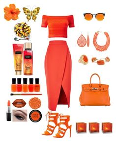 """""""Orange """" by moonlightsilhouette ❤ liked on Polyvore featuring C/MEO COLLECTIVE, Miss Selfridge, Hermès, LULUS, Zoya, Boohoo, Chico's, Qupid, Cultural Intrigue and MAC Cosmetics"""